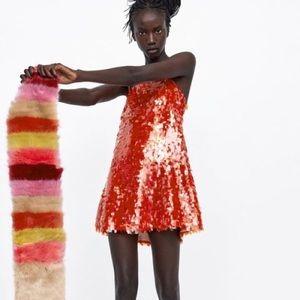 Zara Red Sequin Dress Brand New